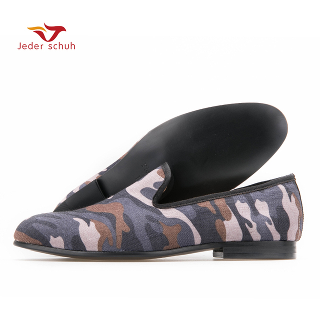 British style Classic Camouflage men smoking slippers Handmade men Mix color canvas loafers men casual and prom flats
