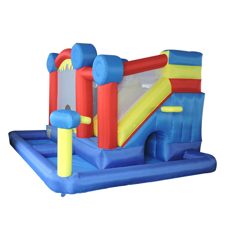 YARD Fashion 4 in 1 Inflatable Bouncer Jumping Castle Bounce House with Slide and PE Ball Pit for Children Birthday Party high quality carved black red mens dress oxfords lace up pointed toe genuine leather wedding mens business for work shoes