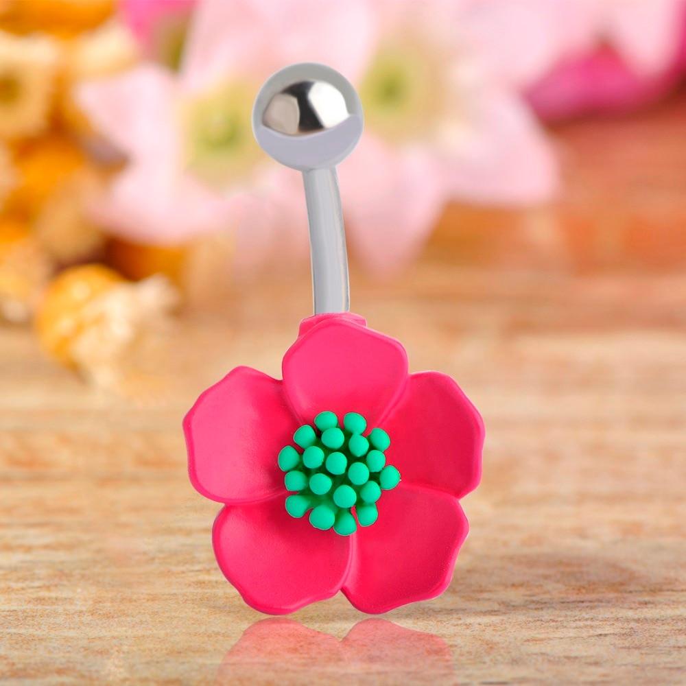 Lovely Pink Flowers Navel Bell Button Rings For Women Girl Barbell