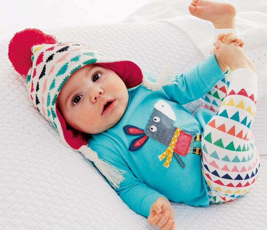 Новый 2018 Осенние комплекты одежды для маленьких мальчиков и девочек мультфильм ослик футболка + красочные Брюки для девочек 2 шт. для новорожденных одежда для малышей наряды