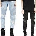 Дешевые Хип-хоп байкер джинсы для мужчин Мужские Тощий разорвал байкер джинсы брюки светло-синий и черный 2 цвета размер 28-38 m73
