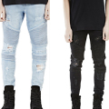 Cheap HIp hop biker jeans for men Mens Skinny ripped biker jeans pants light blue and black 2 colors size 28-38 m73
