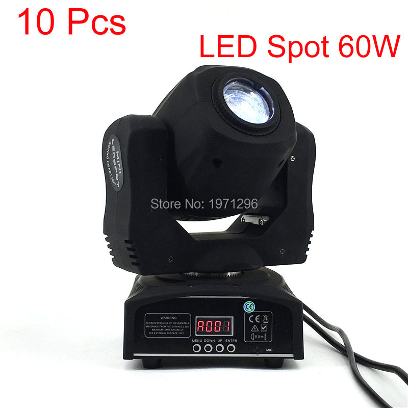 10 Pcs/lot LED Spot 60W Stage Light DMX 9/11 Channels Business Light Professional LED Moving Head Light For Party Disco LED Lamp 2017 hot 30w spot gobo moving head light led moving head spot stage lighting disco light professional stage