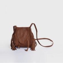 Vendange mini bolso de piel de oveja retro, bolso de hombro con borlas/bandolera, hecho a mano, 2227