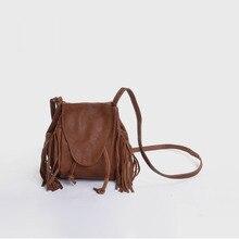 Vendange new retro mini bucket sheepskin bags handmade tassel shoulder bag/ messenger bag 2227