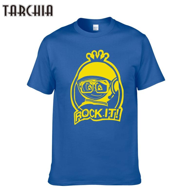 "TARCHIA Men's T-Shirt Printing Cotton T-Shirts Slim T Shirts Brand Clothing O-Neck T Shirt Men Summer ""ROCK IT"" Tees Tops"