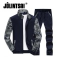 Jolintsai 2017 Spring Men Sportswear Camouflage Stand Collar Polo Track Suit Casual Sweatsuits Cool Hoodies+Pant Set 4xl