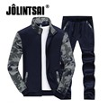 Jolintsai 2017 Spring Men Sportwear Camouflage Stand Collar Polo Track Suit Casual Sweatsuits Cool Hoodies+Pant Set 4xl