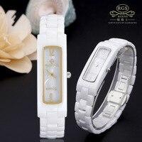 female watches quartz square white black 100% ceramic clocks womens wristwatches waterproof Japanese movement RGENS brand