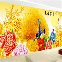 Gold Peacock Flowers 5d Diy Big Size Mordern Living Room Decoration Diamond Painting Pasted Cross Stitch