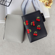 Fashion Women Short Wallet PU Leather Cherry Embroidery Coin Purse Card Holders Lady Girl Mini Money Bag WML99