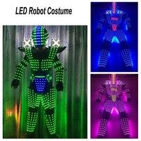 Хэллоуин Косплэй костюм робота из светодиодов костюм Для мужчин светодио дный люминесцентная одежда Одежда для танцев для ночных клубов ве