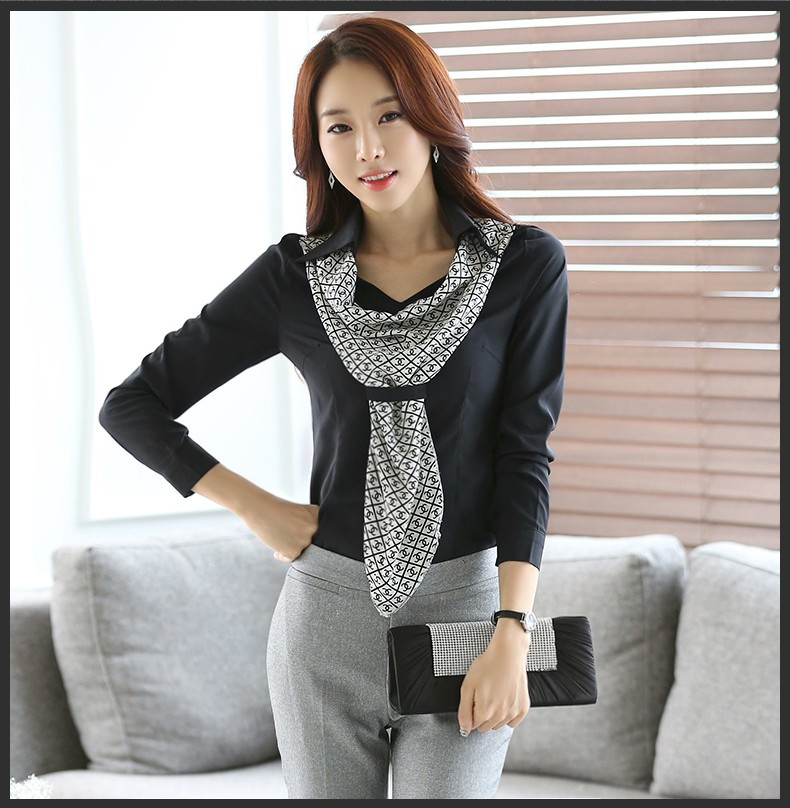 HTB1X.qvJpXXXXc4XXXXq6xXFXXXl - Women's shirt slim formal scarf collar long-sleeve blouses