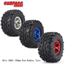 SURPASS HOBBY 4pcs 3004 130mm Rim Rubber Tyre Tire Wheel Plastic Hub for 1/10 RC Bigfoot Model HSP HPI Beadlock Spare Parts f17675 7 jmt 4pcs 38mm 1 20 rubber tire model wheel diy robot accessories toy parts for rc car