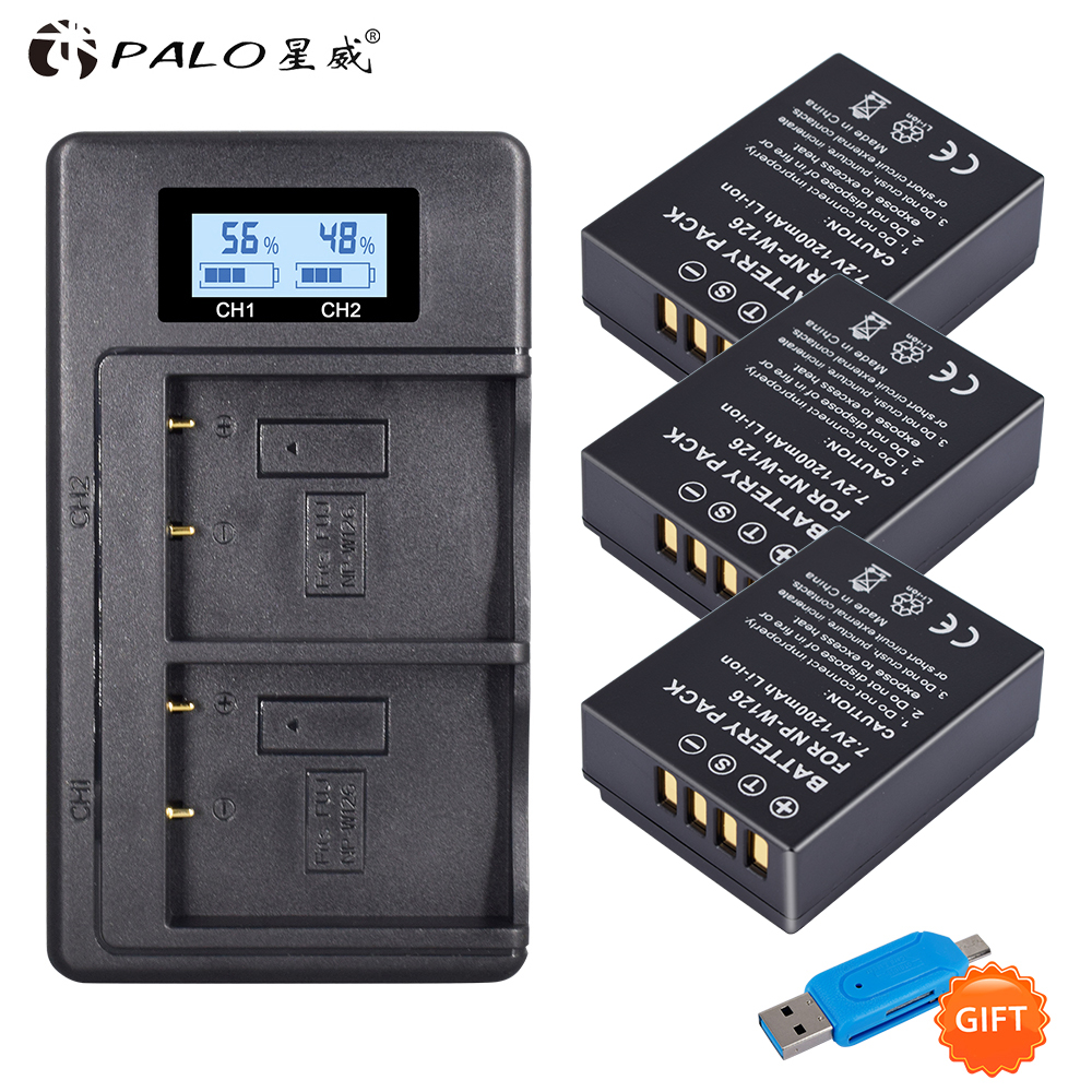 3X NP-W126 Camera Battery + LCD Dual Charger For Fuijofilm HS30EXR,HS33EXR,<font><b>HS35EXR</b></font>,HS50EXR,X100F,X-PRO2,X-A1,X-A2, X-A3, X-A10 image