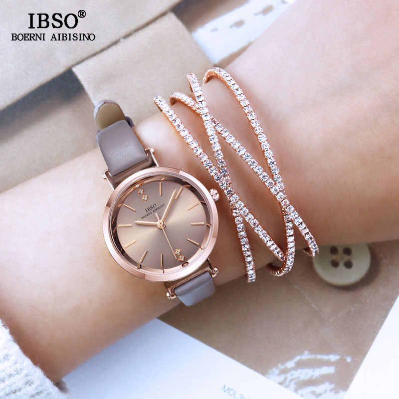 IBSO קריסטל צמיד שעונים סט נשי באיכות גבוהה קוורץ שעון יוקרה נשים שעון צמיד סט מתנת האהבה