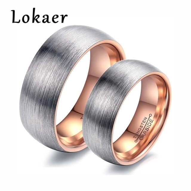 Lokaer New Design Tungsten Steel Wedding Engagement Couple Rings Rose Gold Black Color Men Women