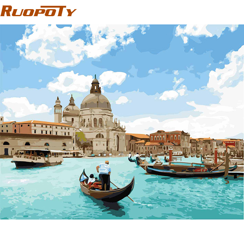 RUOPOTY Frame Venice Seascape DIY Painitng By Numbers Home Wall Art Canvas Painting Hand Painted Acrylic Picture For Unique Gift