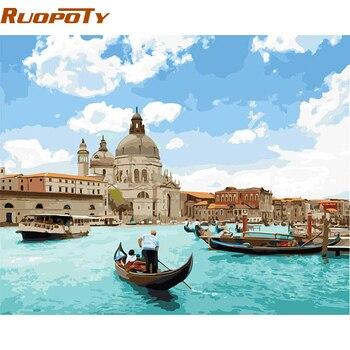 RUOPOTY מסגרת ונציה נוף ימי DIY Painitng על ידי מספרי בית קיר אמנות בד ציור יד צבוע אקריליק תמונה עבור ייחודי מתנה