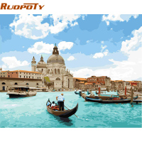 RUOPOTY Venice Seascape DIY Painitng By Numbers Home Wall Art Canvas Painting Hand Painted Acrylic Picture