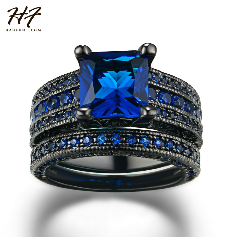 HF New Fashion Luxury Black Gold Color Ring Sets Princess Cut Blue Cubic Zirconia Ring For Women & Men Full Size Wholesale R692