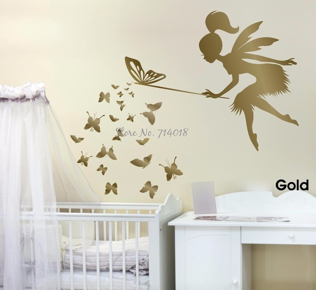 Fairy blowing butterflies wall decal 3d poster vinyl wall sticker fairy kids room nursery wall art