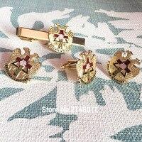 1 Set Massonico Muratura 32 Gradi Rito Scozzese Rosa Croix croce Gemelli Massone Spilla Distintivo Manetta Tie Clip Set