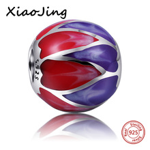 925 Sterling Silver Charm Beads With Colours of the rainbow High Polishing Enamel Fit Pandora charms Bracelets Jewelry Gifts