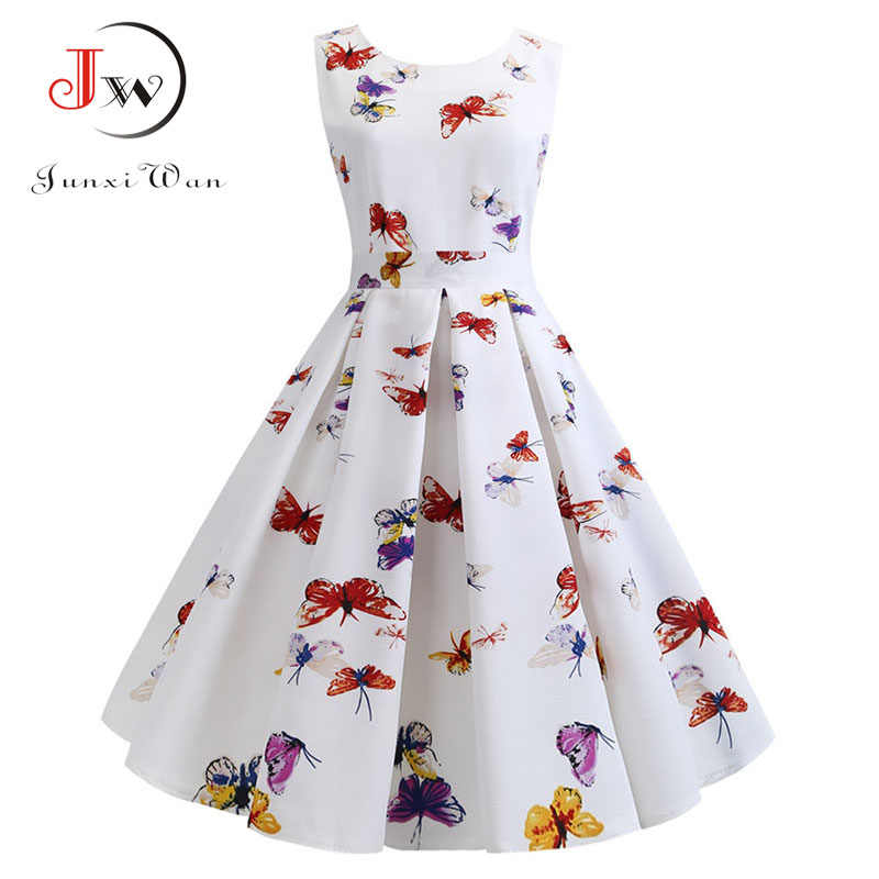 Zomerjurk Vrouwen 2019 Gewaad Vintage Jurk Vlinder Print Big Swing 50 S 60 S Retro Rockabilly Pin Up Party jurken Vestidos