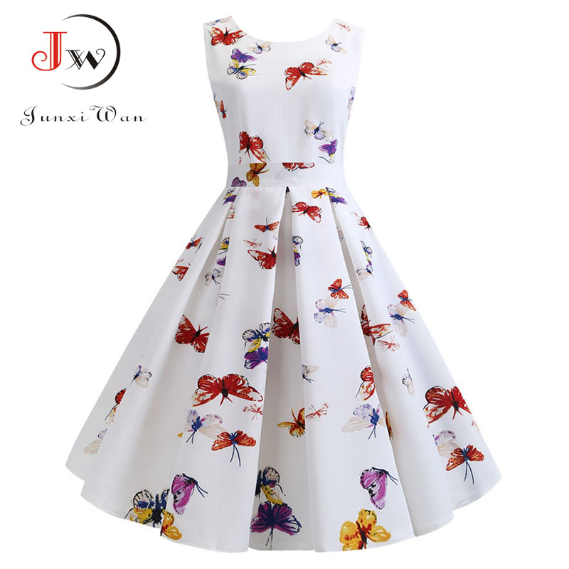 Summer Dress Women 2019 Robe Vintage Dress Butterfly Print Big Swing 50s 60s Retro Rockabilly Pin Up Party Dresses Vestidos