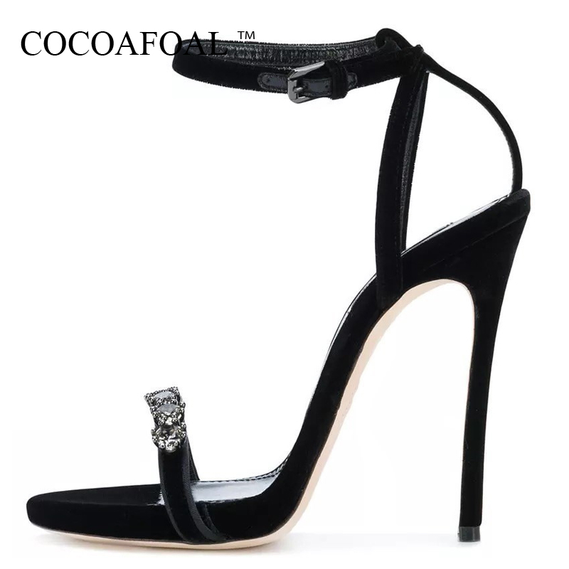 COCOAFOAL Women Rhinestone Sandals Plus Size 33 43 Heel Height Gladiator Sandals Crystal Party Wedding Open Toe Heels Shoes 2018 beckywalk cut outs open toe square heel sandals women large size shoes high heels gladiator sandals plus size 40 43 wsh2643