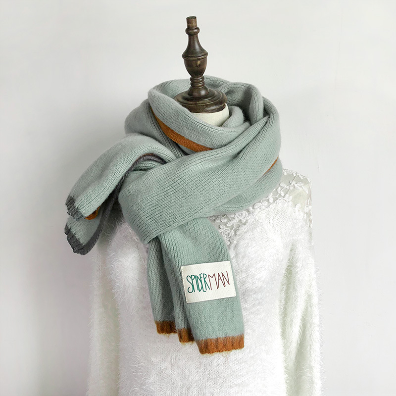 TagerWilen Luxury Brand 2019 Winter Scarf Women Knitting Wool Scarves Knitted Thicken Warm Shawl Student Scarf S-73