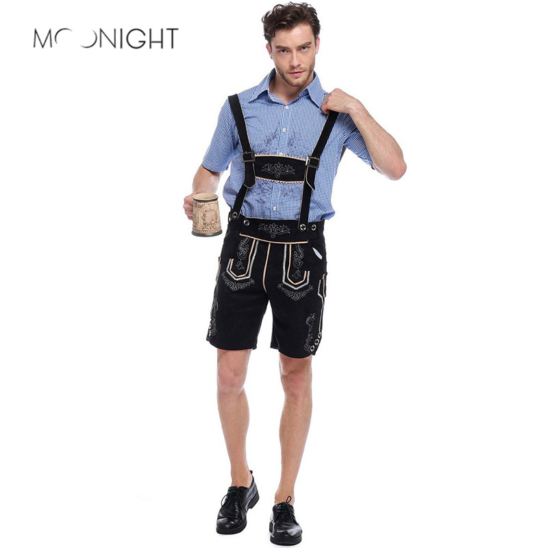 MOONIGHT German Oktoberfest Costume Adult Beer Carnival Costume Man Rompers Suit Maid Uniforms Cosplay Halloween Costume For Man