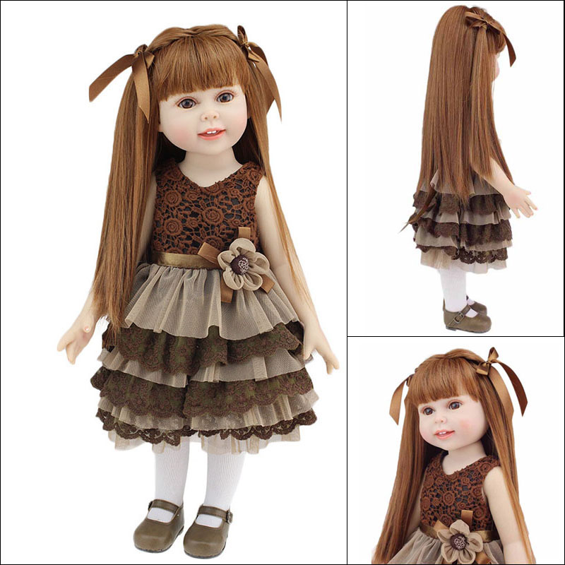 New Design 18 American Girl Doll Full Vinyl Silicone Baby Doll Realistic Reborn Dolls Toys with Beautiful Clothes and Shoes