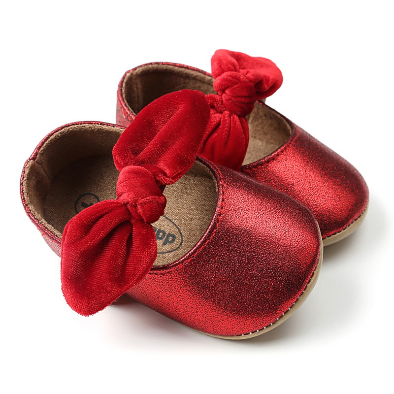 Red PU Baby Shoes 2018 Infant first walkers Bow soft soled Newborn Bebe Girls Sneaker Prewalker baby moccasins