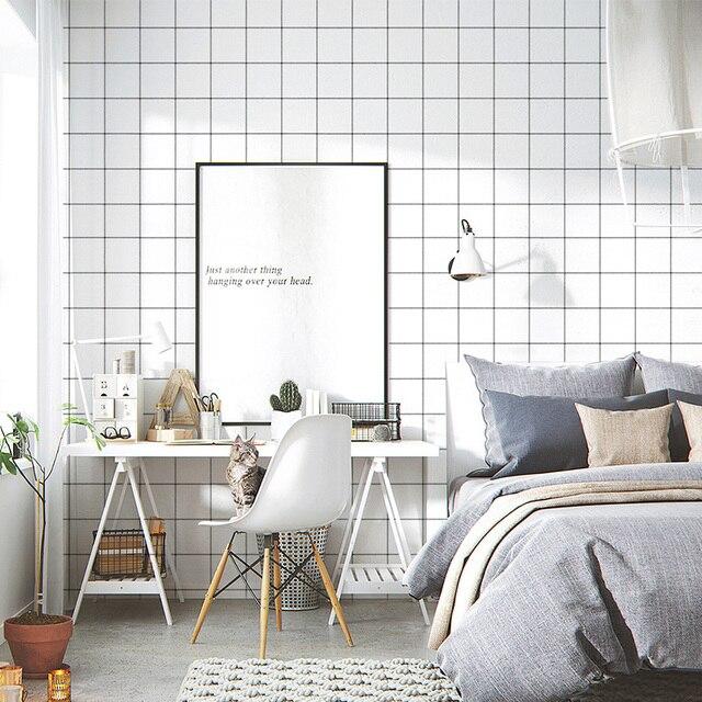 Grid Self Adhesive Wallpaper Kitchen Bathroom Toilet Waterproof Wall Stickers Living Room Bedroom Nordic Modern Vinyl Paper