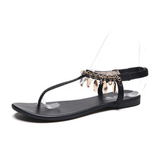 6f16fb69efc1dc Summer Bohemia Chain Sequin Women Clip Toe Roman Sandals Black Silver Flip  Flop Flats Beach Gladiator