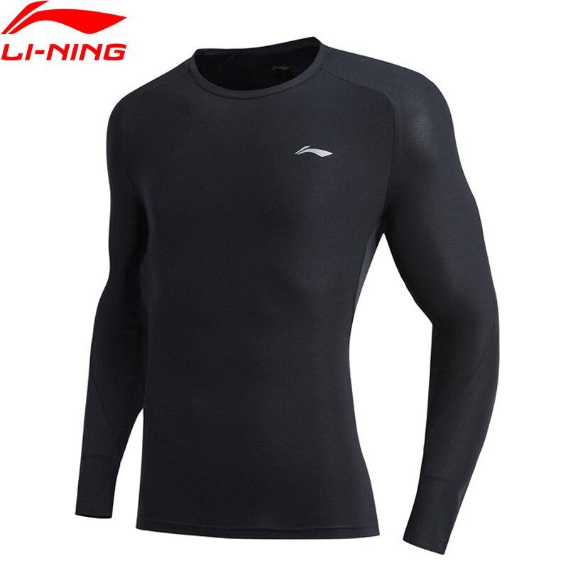 Li-Ning Men Training T-Shirt Base Layer Long Sleeve Slim Fit 91% Polyester 9% Spandex Li Ning LiNing Sports Tops ATLP023 MTL1026
