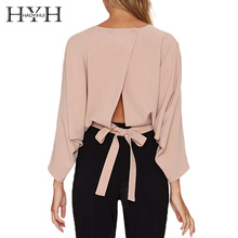 HYH HAOYIHIU 2018 Sexy Solid Back Split Women T-shirt Batwing Sleeve Lace Up Button Elegant Loose Shirts Office Lady Tops