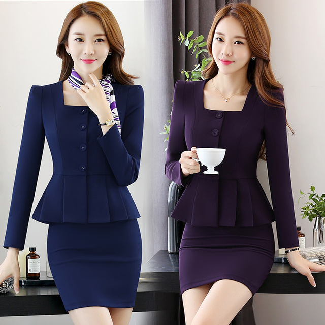 S-4XL Office Women's Skirt Suits Spring 2017 Autumn Fashion Elegant Solid Long-sleeve Thick Slim Work Blazer + Skirt Sets Female