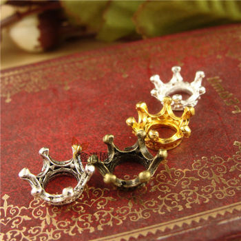 (200 pieces/lot) vintage style 13*6mm crown pendants metal alloy zakka diy charm pendants yw0529