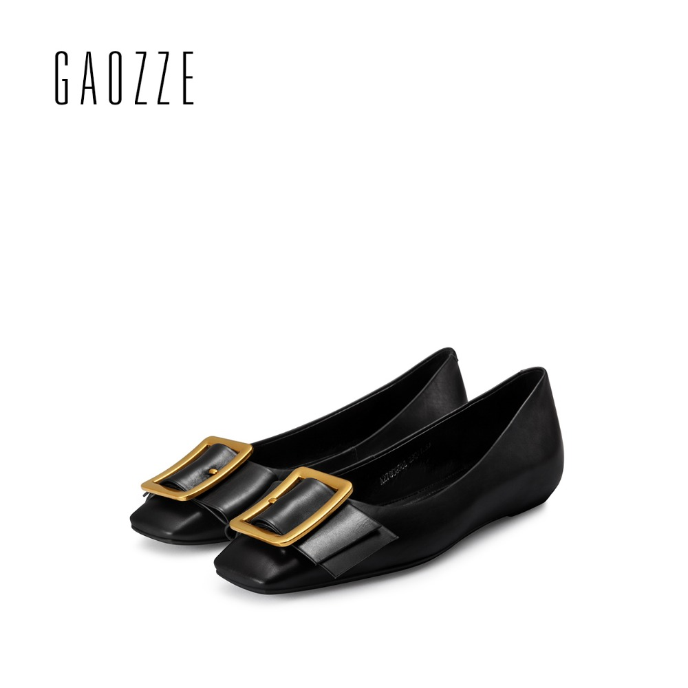 GAOZZE Summer Women Ballet Flats Shoes 2017 New Fashion Metal Buckle Women Casual Shoes Square Toe Genuine Leather Women Loafers