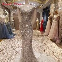 100% echte Fotos Luxus Meerjungfrau Abendkleid Sexy Bling Pailletten Kristalle Lange Kleid Robe De Soiree Sirene 2018