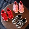 2016 Outono inverno Novo arco-nó Vermelho rosa princesa crianças sapatas dos miúdos sapatos Da Moda PU para meninas respirável solf tênis meninas