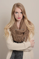 2014 New Hot Fashion Style Winter Crocheted Tassel Infinity Fringe Cashmere Scarf Neck Warmer Cowl Round
