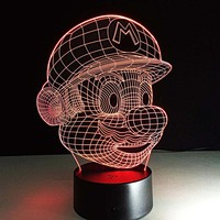 Super Mario Face Mask Modeling Lamp 3D Led Nightlight Festival Lantern Christmas Decoration Supply Glow Accessory
