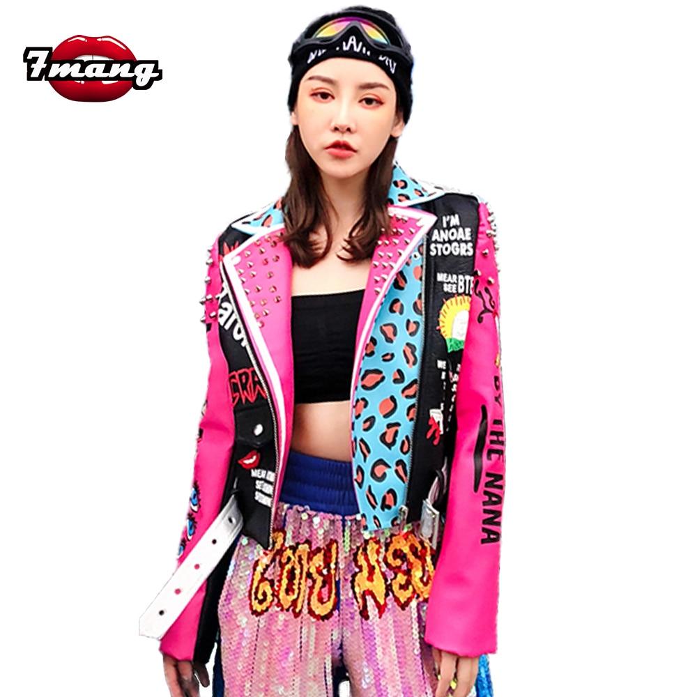 7mang 2019 Autumn Women Punk Rivet Street Cartoon Leopard Print Short Pu Pink   Leather   Jacket Slim Party Cool Biker Jacket