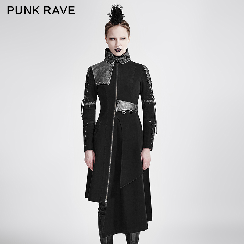 New PUNK rave Gothic Fashion Heavey Metal Casual Vintage Novelty Black Steampunk Rock Women Coat Jacket Y689F