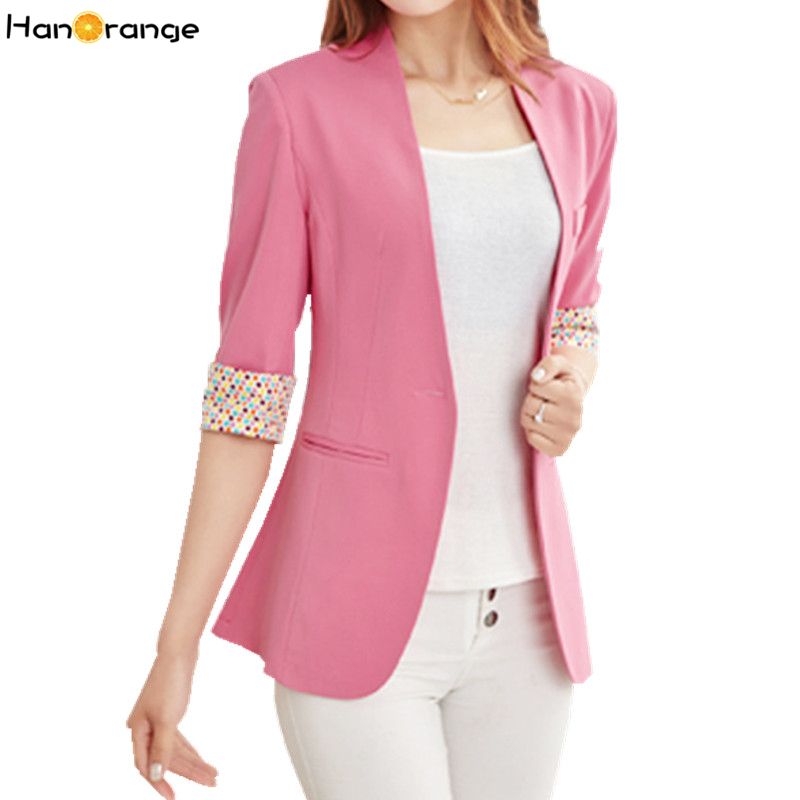 HanOrange Candy Color Dots Cuff Half Sleeve Spring Autumn OL Women Blazer Jacket S-XXL White/Pink/Yellow/Purple/Green/Black/Blue