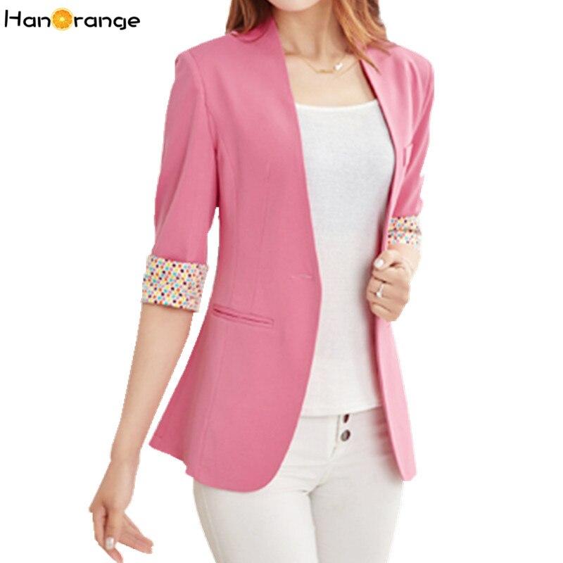 HanOrange Candy Color Dots Cuff Half Sleeve Spring Autumn OL Women Blazer Jacket S-XXL White/Pink/Yellow/Purple/Green/Black/Blue